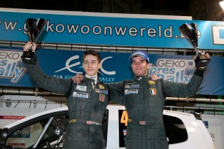 Chris and co-driver Gabin Moreau celebrate after Ypres