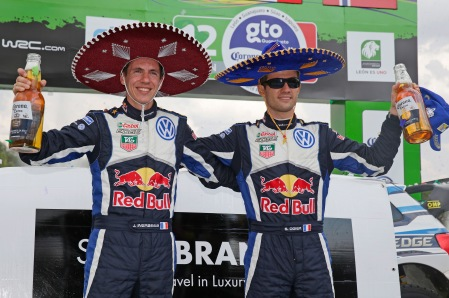 Ogier and co-driver Julien Ingrassia celebrate Rally Mexico win